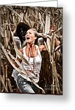 Corn Field Horror Greeting Card
