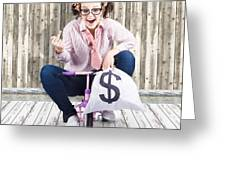 Corrupt Business Thief In A Smart Stealing Scam Greeting Card