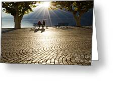 Couple On A Bench Greeting Card