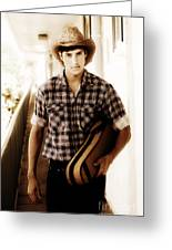 Cowboy Carrying Guitar Greeting Card