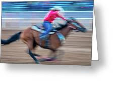 Cowgirl Rides Fast For Best Time Greeting Card