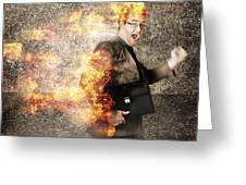 Crazy Businessman Running Engulfed In Fire. Late Greeting Card