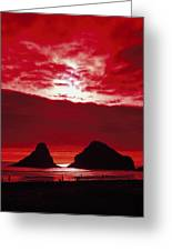 Crimson Sunset Greeting Card