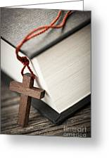 Cross And Bible Greeting Card