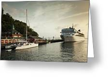 Cruise Ship At Port, Kingstown, Saint Greeting Card