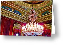 Crystal Chandelier In Dolmabache Palace In Istanbul-turkey  Greeting Card