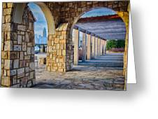 Cultured Stone Terrace Trellis Details Near Park In A City  Greeting Card