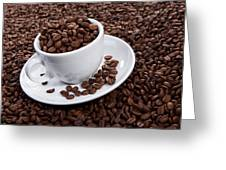 Cup Of Coffee Beans Greeting Card by Raimond Klavins