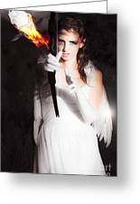 Cupid Angel Of Romance Setting Hearts On Fire Greeting Card