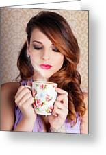 Cute Brunette Woman Drinking Hot Coffee Indoors Greeting Card