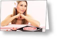 Cute Girl In Spa Salon Greeting Card