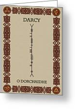 Darcy Written In Ogham Greeting Card