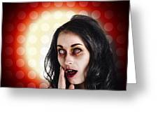 Dark Portrait Of A Zombie Girl In Shock Horror Greeting Card