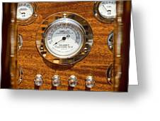 Dashboard In A Classic Wooden Boat Greeting Card