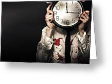 Dead Business Person Holding End Of Time Clock Greeting Card