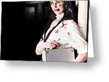 Dead Female Zombie Worker Holding Briefcase Greeting Card