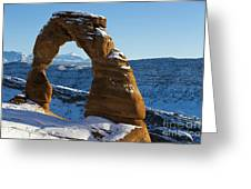 Delicate Arch With Snow Arches National Park Utah Greeting Card