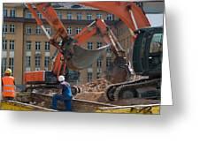 Demolition Vehicles At Work Greeting Card