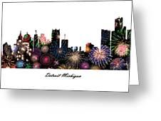 Detroit Michigan Fireworks Skyline Greeting Card