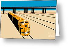Diesel Train High Angle Retro Greeting Card