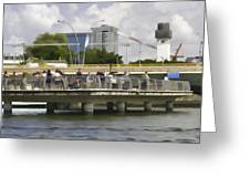 Digital Oil Painting - Visitors On Viewing Plaza On Singapore River Next To The Merlion Greeting Card