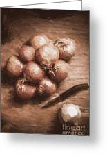 Digital Painting Of Brown Onions On Kitchen Table Greeting Card