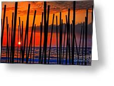 Digital Painting Of Looking Through Beach Umbrella Poles At Sunset Greeting Card