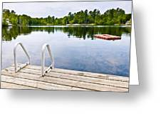 Dock On Calm Lake In Cottage Country Greeting Card