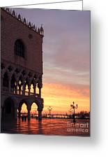 Doges Palace At Sunrise Venice Italy Greeting Card