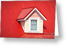 Dormer Window On Red Roof Greeting Card