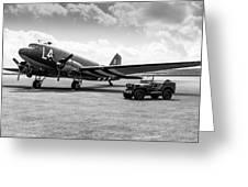 Douglas C-47a Skytrain Ready For D-day Greeting Card
