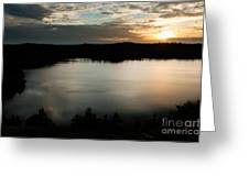 dramatic sky sunset over Aboda Klint lake Sweden Greeting Card