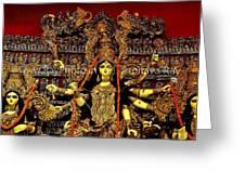 Durga Statue The Hindu Goddess #2 Greeting Card by Amitava Ray