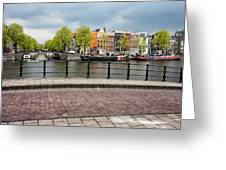 Dutch Houses By The Amstel River In Amsterdam Greeting Card