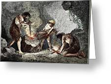 Early Humans Making Fire Greeting Card