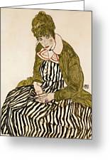 Edith With Striped Dress Sitting Greeting Card