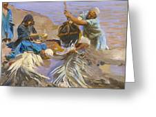 Egyptians Raising Water From The Nile Greeting Card