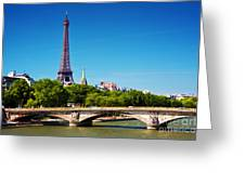 Eiffel Tower And Bridge On Seine River In Paris France Greeting Card