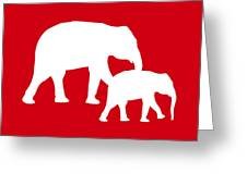 Elephants In Red And White Greeting Card