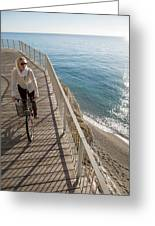 Elevated Perspective Of Woman Riding Greeting Card