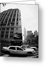 Empire State Building Shrouded In Mist As Yellow Cabs Crossing Crosswalk On 7th Ave And 34th Street Greeting Card