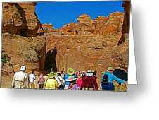Entering Mile-long And 600 Foot High Gorge Leading To Treasury In Petra-jordan  Greeting Card