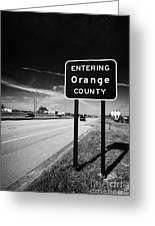 Entering Orange County On The Us 192 Highway Near Orlando Florida Usa Greeting Card
