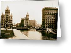 Erie Canal On Salina Street In Syracuse New York - Circa 1904 Greeting Card