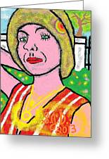 Erika Hides Behind Her Fancy Fence Rich Off My Circle Of Life Idea Greeting Card by Joe Dillon