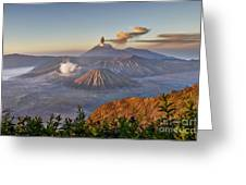 eruption at Gunung Bromo Greeting Card
