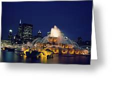 Evening At Buckingham Fountain - Chicago Greeting Card