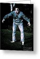 Evil Dead Horror Zombie Walking Undead In Cemetery Greeting Card