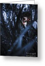 Evil Man Hiding In Silence At Dark Forest  Greeting Card