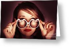 Face Of Cool Fashion Woman In Retro Summer Love Greeting Card